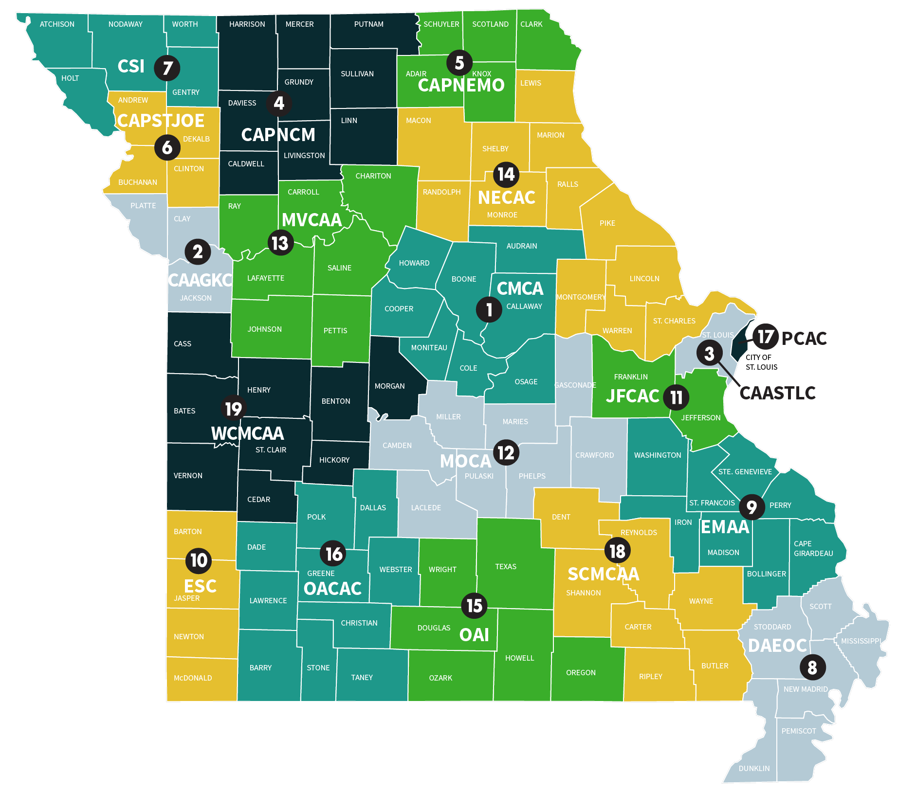 Northwest Missouri Map.Community Action Agencies Missouri Community Action Network